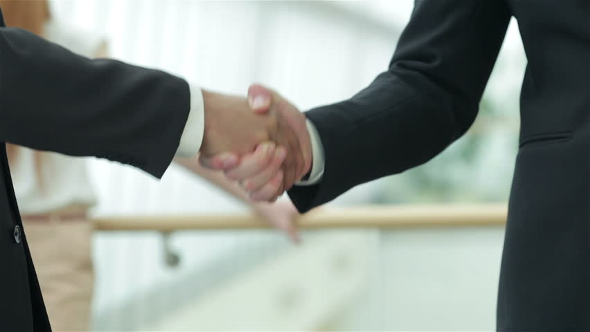 A firm handshake. Two successful smiling businessmen shaking hands with each other while discussing #8015227