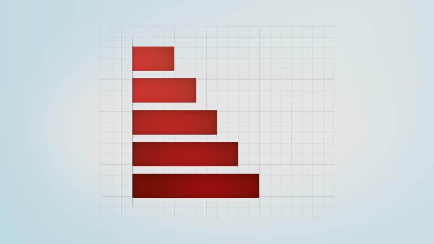 infographic red bar graph with different values, loop