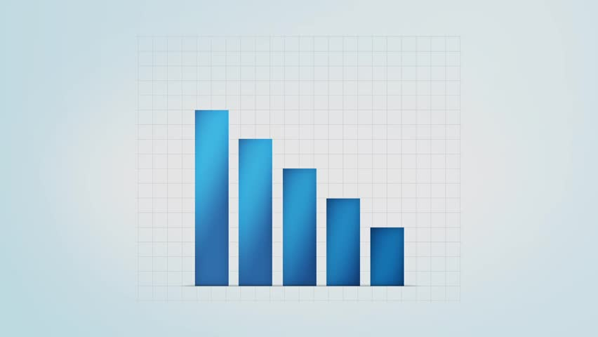infographic blue bar graph with different values, loop