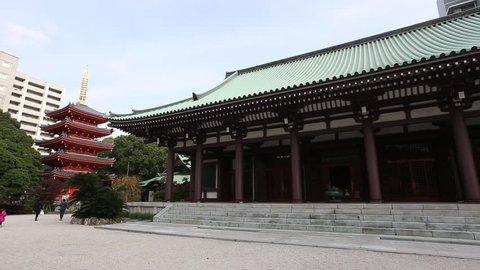 Pagoda in Tochiji Temple, the oldest temple in Fukuoka, Kyushu, Japan.