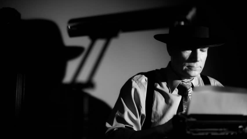 A man in a fedora, typing on a vintage manual typewriter. Film Noir
