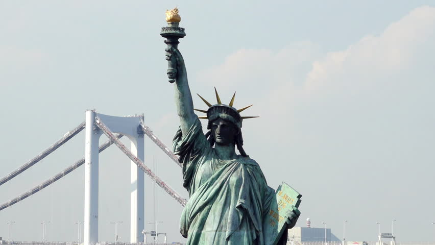 Tokyo Japan - Circa September 2014 Replica Statue of Liberty with Peace Bridge in the Background - Tokyo Japan | Shutterstock HD Video #8071093