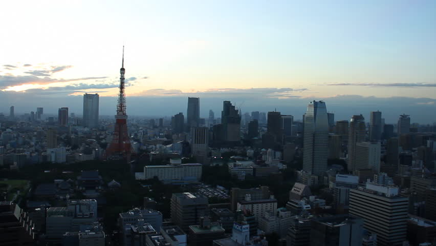 Tokyo Tower and buildings at dusk   Shutterstock HD Video #8076925