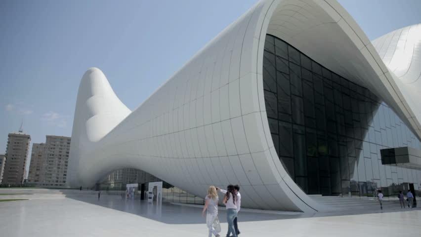 BAKU, AZERBAIJAN - AUGUST 2014: Heydar Aliyev Center in Baku, Azerbaijan. World known famous design building Heydar Aliyev Center in Baku, Azerbaijan