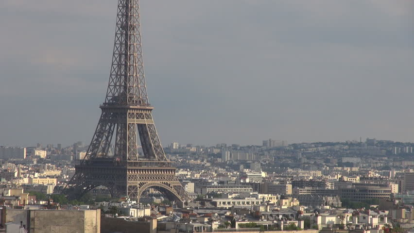 Aerial view of beautiful Paris landmark, Eiffel tower and rooftop in sunny day | Shutterstock HD Video #8094946