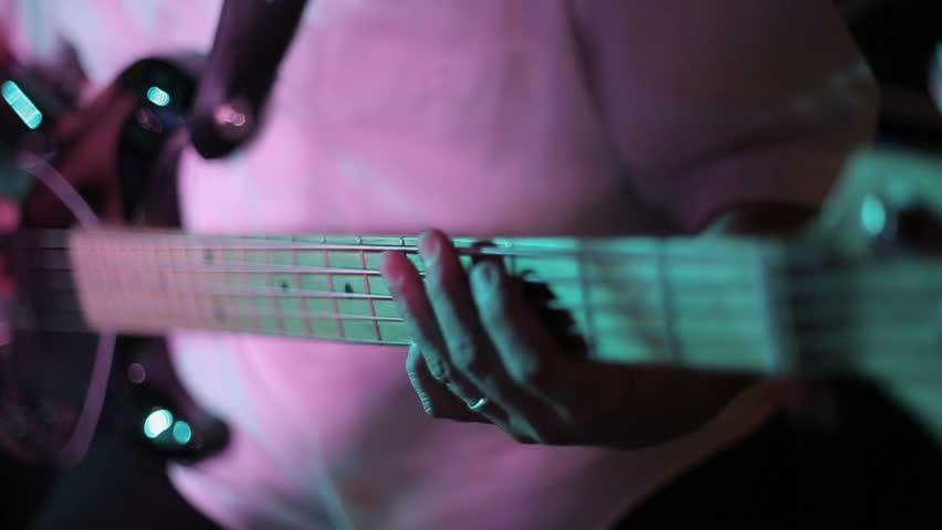 Musician playing bass guitar close up slow motion | Shutterstock HD Video #8114113