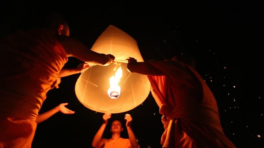 Lanna Dhutanka, October 7, - Monks Floating Lantern Up To Sky In Loy Krathong Festival, Chiang Mai, Thailand 2014