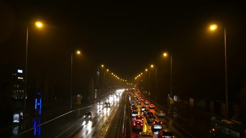 BUDAPEST - DECEMBER 02: Traffic jam on the highway in Budapest taken by cold december night December 02, 2014 in Budapest, Hungary.