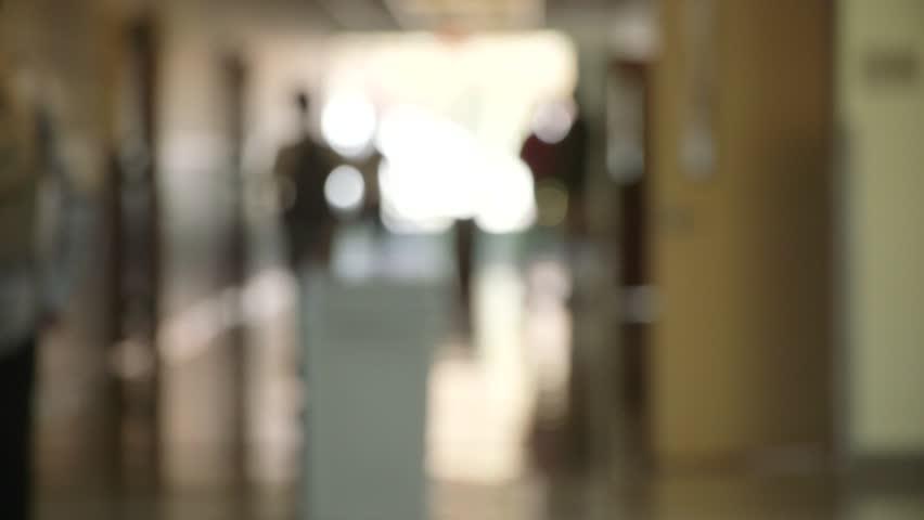 High school hall blurry