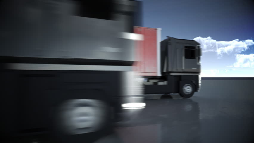 articulated lorry truck driving past with shipping container  with matte for easy compositing into your own scenes
