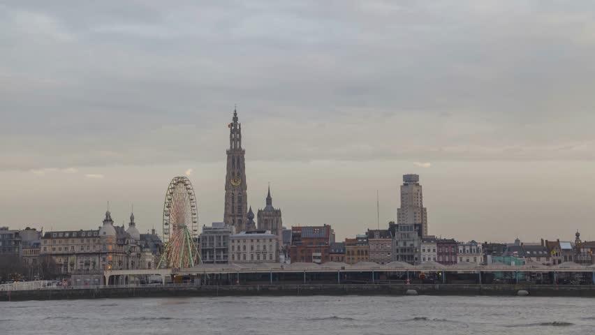 View of Antwerpen from other side of river Schelde in the evening, Flanders, Belgium