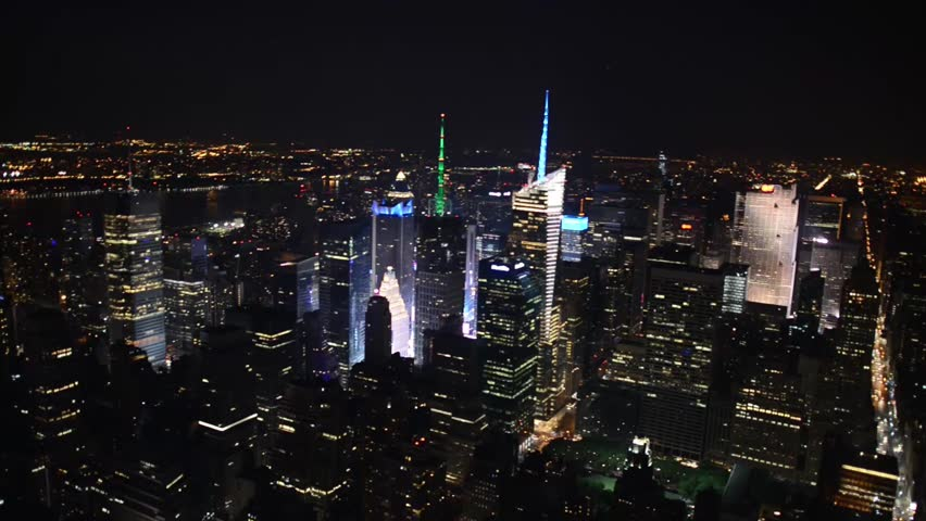Manhattan skyscrapers at night, aerial view of New York City   Shutterstock HD Video #8181310