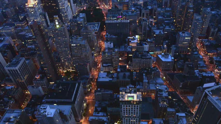 Aerial view of Midtown and Downtown Manhattan at night | Shutterstock HD Video #8181325