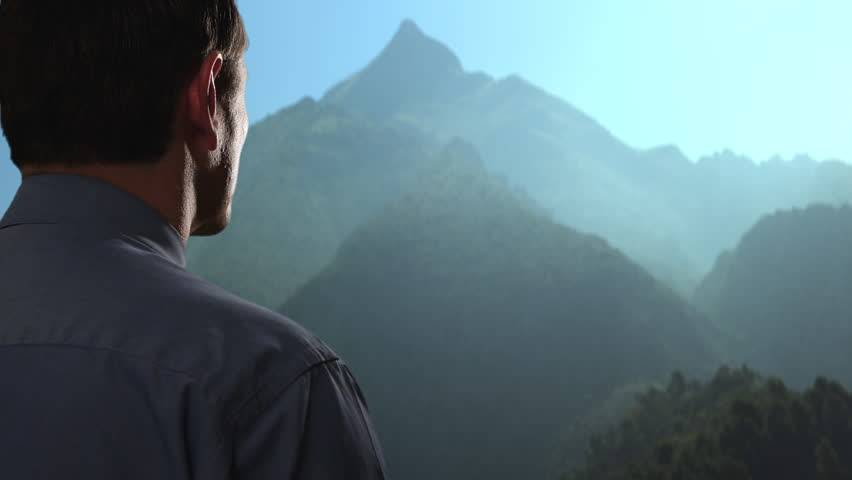 Businessman Looking up at Mountain. Stock Footage Video (100% Royalty-free) 8187055 | Shutterstock
