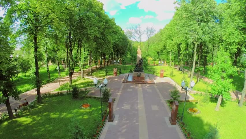 Monument to Soldiers of War of 1812 at summer sunny day in Lefortovsky park. Aerial view