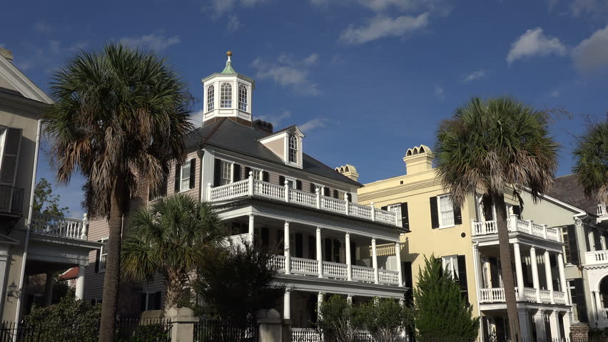 CHARLESTON, SOUTH CAROLINA/USA - OCTOBER 21, 2014: Antebellum houses, South Battery. Antebellum architecture is the neoclassical architectural style characteristic of the Southern United States. | Shutterstock HD Video #8206462