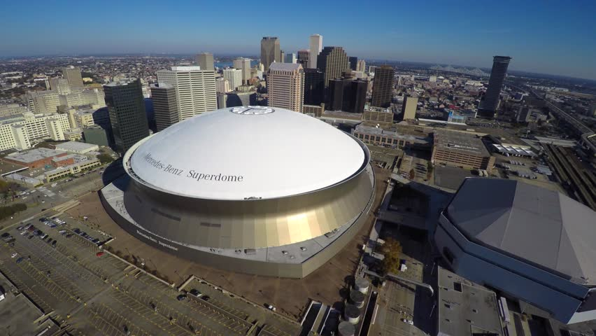 LOUISIANA - DECEMBER 8: Aerial 4k video of the Mercedes Benz Superdome at Downtown New Orleans is home to the New Orleans Saints December 8, 2014 in Louisiana USA