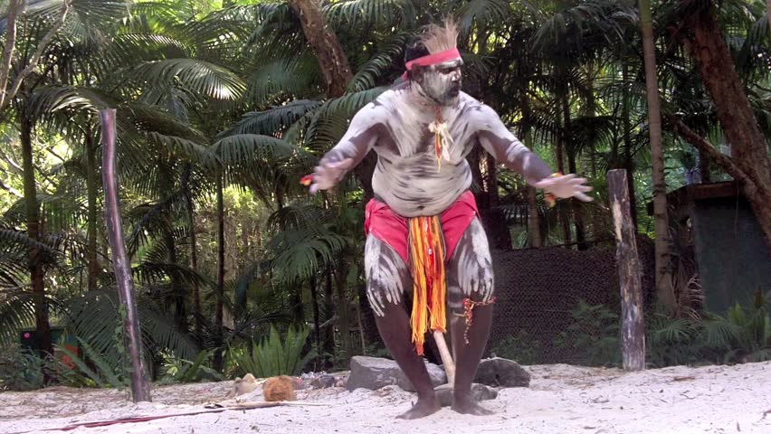 Aboriginal Australian ( (Yugambeh) man dancing on Aboriginal culture show in Queensland, Australia.