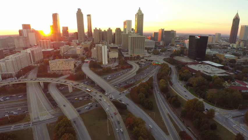 Atlanta Aerial 26 Flying over freeway with cityscape sunset view. 10/22/14