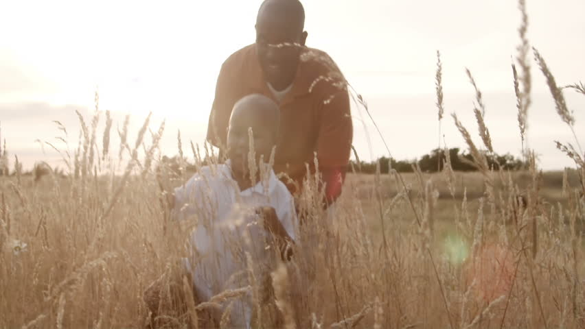A father and son play in a wheat field on a sunny day.