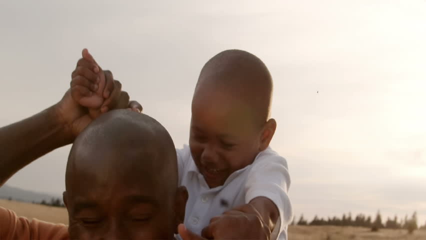 A father and son play in a wheat field on a sunny day. | Shutterstock HD Video #825979