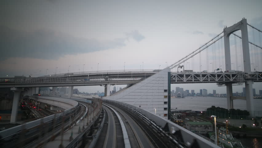 POV shot on the tokyo monorail passing through the city's skyscapers and futuristic style buildings  | Shutterstock HD Video #8287609