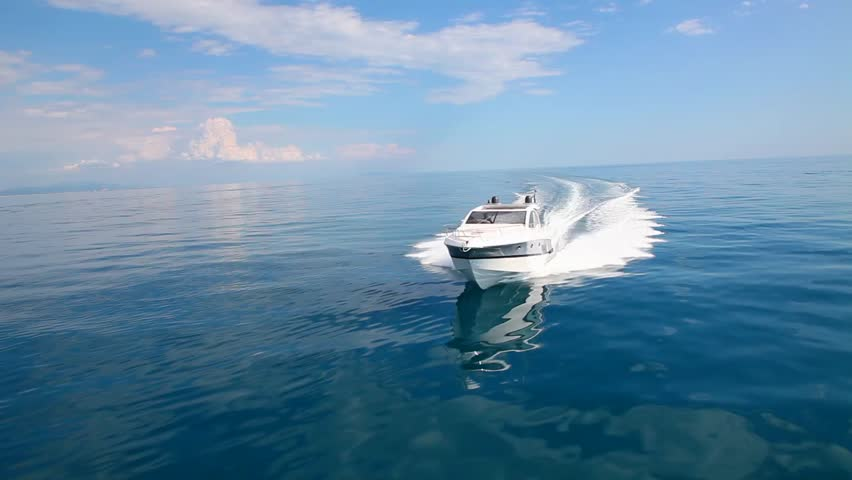 Motor boat in slow motion, rio yachts italian shipyard