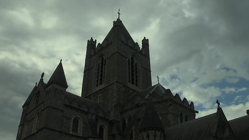 Close up of Christchurch Cathedral, Dublin, Ireland   Shutterstock HD Video #8338492