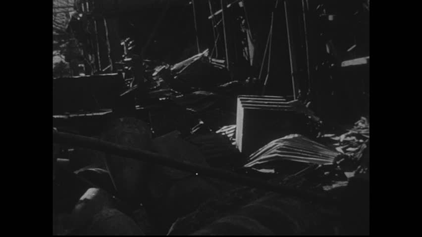 NAGASAKI, JAPAN 1940s : Footage of bomb-damaged equipment in manufacturing plants is severe.    Shutterstock HD Video #8368186