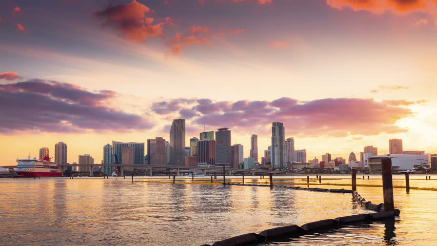Miami skyline at sunset with clouds passing by | Shutterstock HD Video #8391493