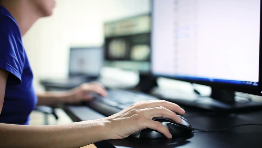 Woman Work at Computer | Shutterstock HD Video #8400766