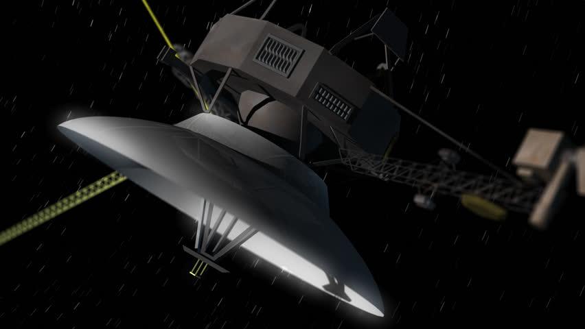 Deep Space Probe flies through space seamless looping/ Deep Space Probe