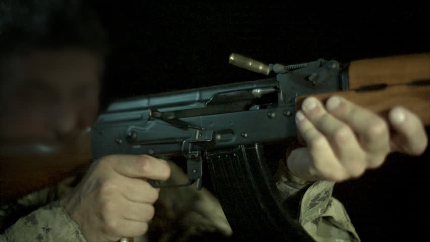 AK-47 Being Shot. Slow Motion Cinematic AK47. Casing Leaving Chamber In Slow Motion. Shot At 100,000 FPS And Upscaled To 1080P