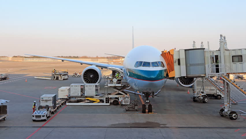 Load and unload cargo to airplane for air freight logistic  | Shutterstock HD Video #8412646
