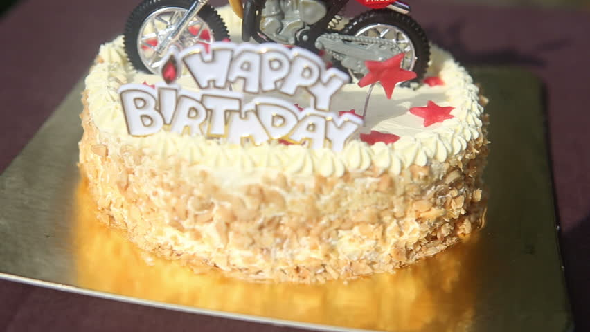 Peachy Close Up Birthday Cake With Stock Footage Video 100 Royalty Personalised Birthday Cards Paralily Jamesorg