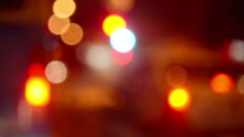 Street Traffic and Car Headlights Bokeh as Abstract Urban Background, 1920x1080 handheld full hd footage.