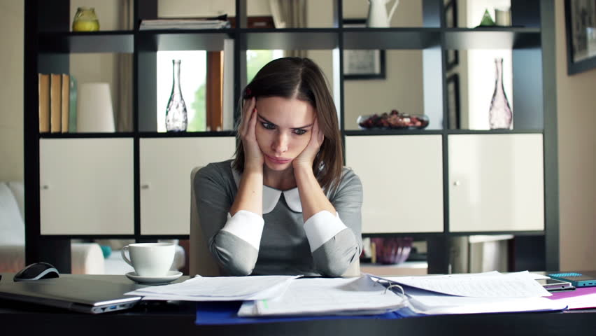 Overwhelmed, Sad Businesswoman with Documents Stock Footage ...