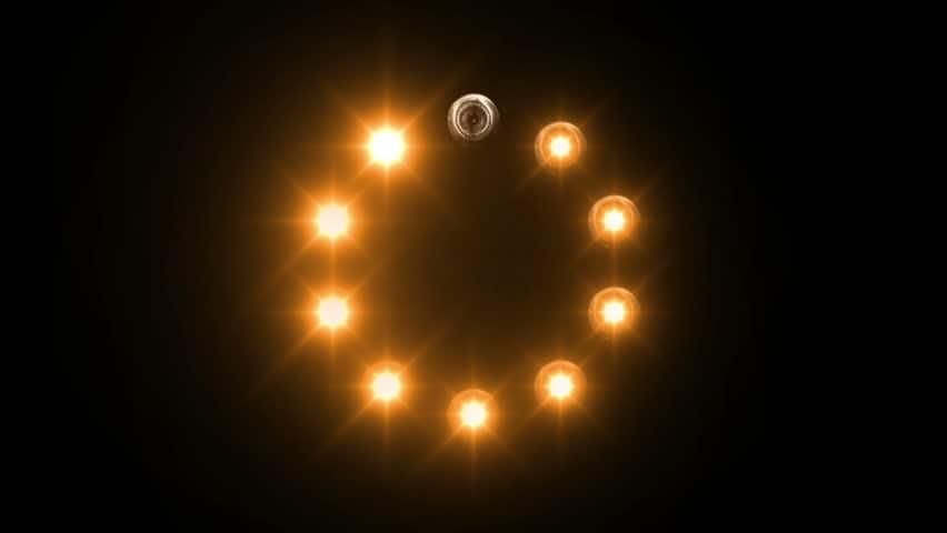 light loading bar - 30fps - radial, orange lights shining on black background #8466694