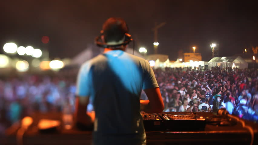 VALENCIA , SPAIN - AUGUST 1: at the Arenal Sound Music Festival. A dj performs at the arenal sound music festival in Valencia, Spain. Over 50 world renowned artists performed at this festival on August  1, 2010.