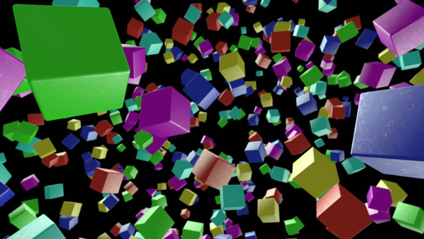 Seamless looping background with colorful cubes including alpha matte | Shutterstock HD Video #8484793