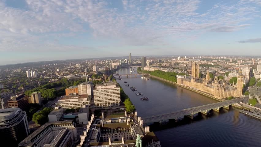 Aerial panorama of central London, UK. Features the River Thames, Millennium Wheel (London Eye), Waterloo and Houses of Parliament. | Shutterstock HD Video #8492608