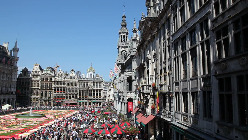 BRUSSELS - AUGUST 14TH, 2010. Every two years thousands of visitors come to see the floral carpet on the famous Grand Place square. Almost 800,000 begonias were used this year, on August 14, 2010 in Brussels.