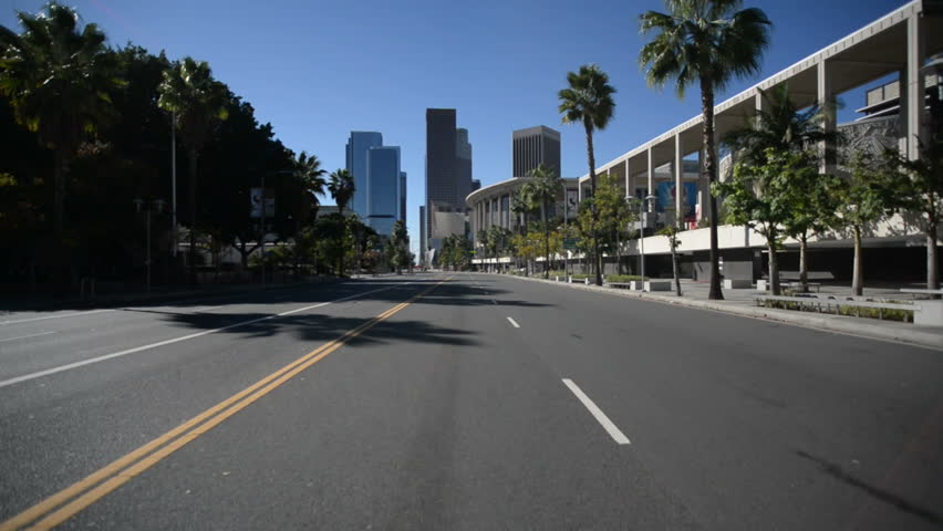Driving Plates Los Angeles Downtown Morning CAM1 Front 06 Grand Ave South at 1st St California USA