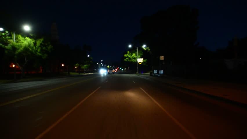 Driving Plates Beverly Hills Night CAM1 Front 01 La Cienega Blvd North at Olympic Blvd #8496481