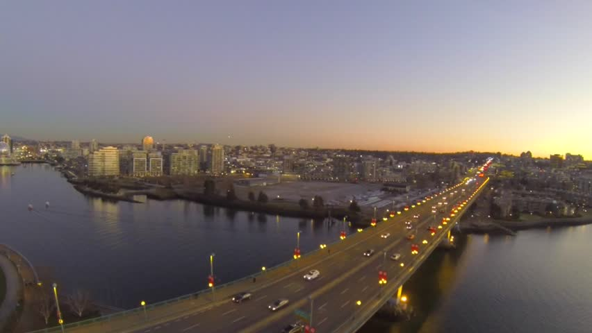 Aerial - golden sunset city of Vancouver cambie bridge | Shutterstock HD Video #8501821