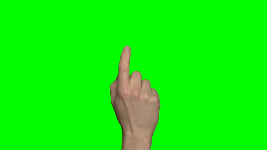 Green screen hand gestures on a touchscreen (4:2:2, 30P, Full-HD, MXF-Format video footage). Right male hand. Greenscreen pre-keyed with alpha channel | Shutterstock HD Video #8503762