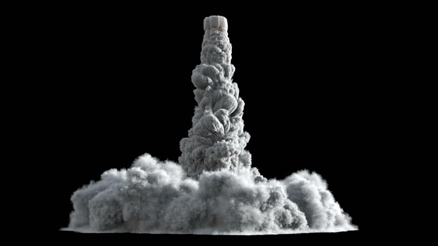 4K Rocket launch or Takeoff smoke and fire texture isolated on black background, with alpha, ready for compositing (uhd 3840x2160, ultra high definition, 1920x1080, 1080p) high detailed huge smoke | Shutterstock HD Video #8511013