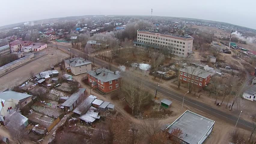 Fly over the village, flying over the village hospital | Shutterstock HD Video #8532193