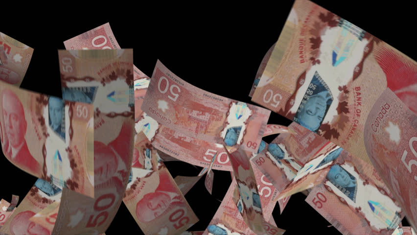 Falling Canadian dollar Video Effect simulates Falling 50 Canadian dollar banknotes with alpha channel in 4k resolution