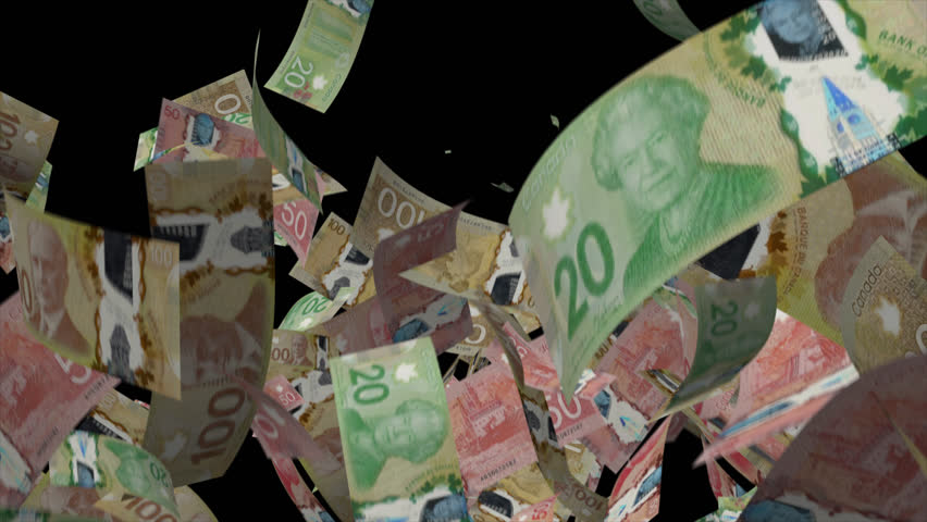 Falling Canadian dollar Video Effect simulates Falling Mixed Canadian dollar banknotes with alpha channel in 4k resolution